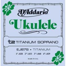 Titanium Комплект струн для укулеле сопрано, D'Addario